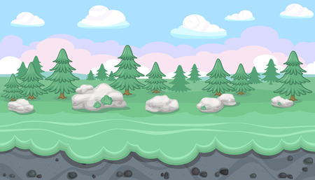 moss: Seamless editable horizontal forest background with fir trees and stones for video game