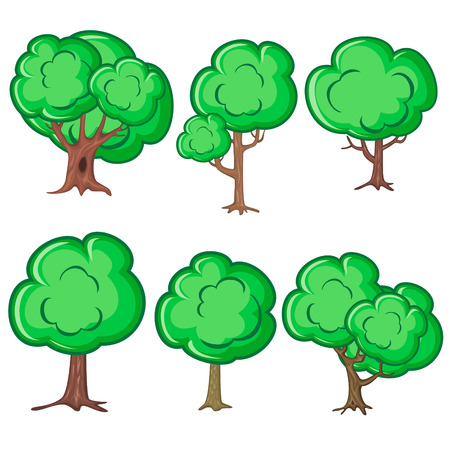 jungle plants: Set of six smooth old trees isolated over white