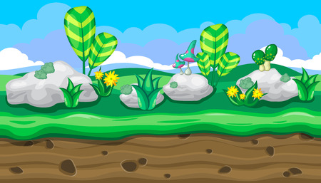 white stones: Seamless horizontal summer background with white stones and bright mushrooms for video game