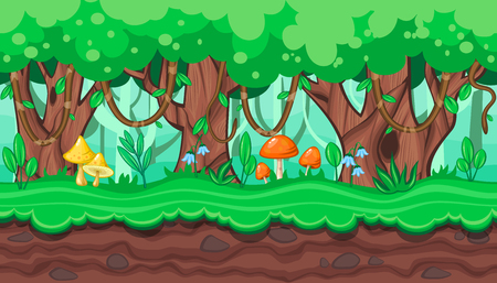 amanita: Seamless horizontal summer background with old trees and bright mushrooms for video game