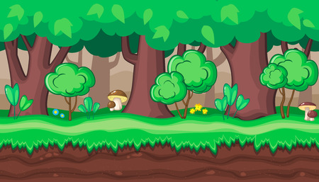 boletus: Seamless horizontal summer background with old and young trees and boletus for video game