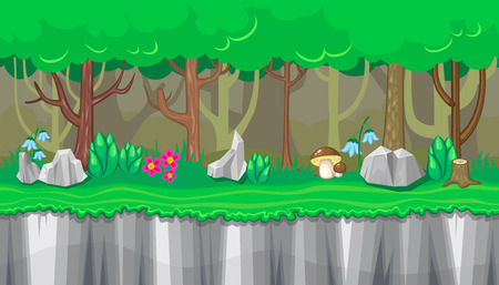grounds: Seamless horizontal summer background with boletus and rocks for video game