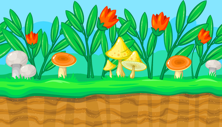 lea: Seamless horizontal summer background with flowers and big colorful mushrooms for video game