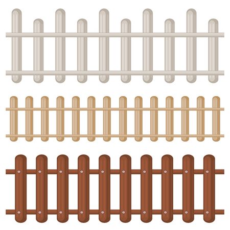 palisade: Set of three seamless colorful wooden fences isolated over white