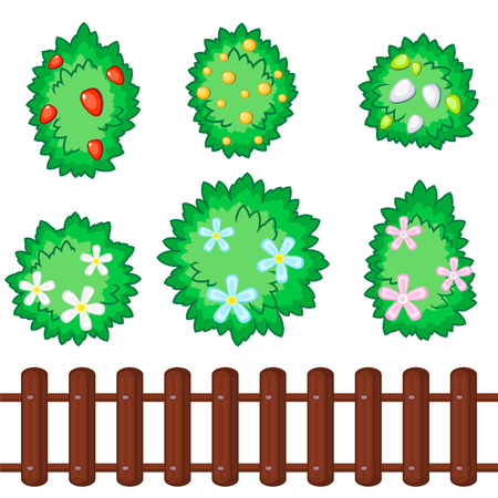Set of six fluffy bushes with flowers and berries and seamless wooden fence