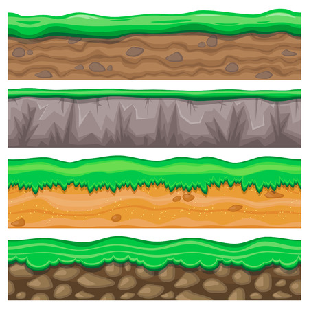 grounds: Set of four detailed rocky and sandy seamless grounds with grass for video game