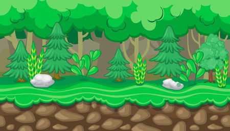 summer trees: Seamless horizontal summer background with fir trees and white rocks for video game