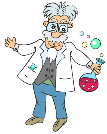 mad: Cartoon aged man holding round flask with pink bubbling liquid