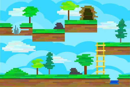 Naadloze bewerkbare horizontale achtergrond van pixel blokken voor het platformspel