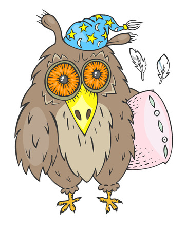 slumber: Hand drawn sleepy owl with pink pillow and blue nightcap Illustration