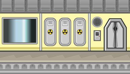 closet door: Illustration of three closets and dark window for game Illustration