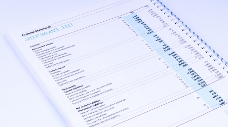 financial statements on white background photo