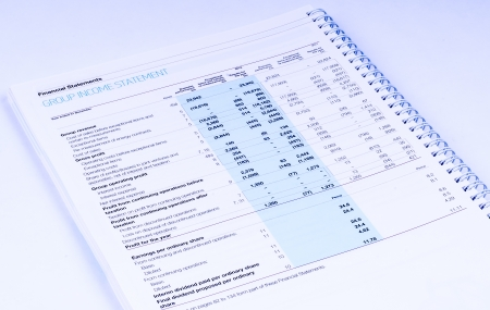 group income statement on white background photo