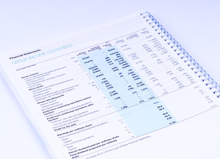cash flow statement: group income statement on white background