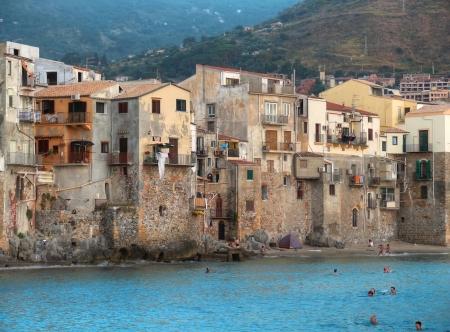 tyrrhenian: coast of Cefalu, Sicily Editorial