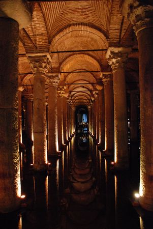 byzantium: Basilica Cistern in Istanbul, Turkey