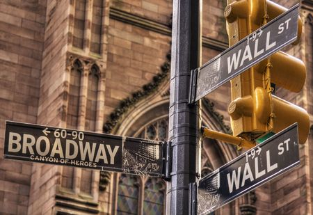Wall Street with Broadway Crossing photo