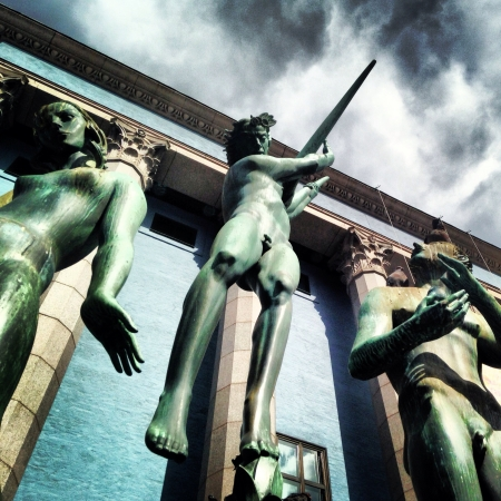 carl: Carl Milles statues. Stockholm Concert Hall. Stock Photo