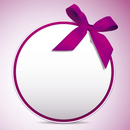 ピンクのリボンカード。ピンクの弓を持つ円ラベル。