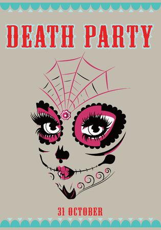 Cute death party poster with catrina skull illustration