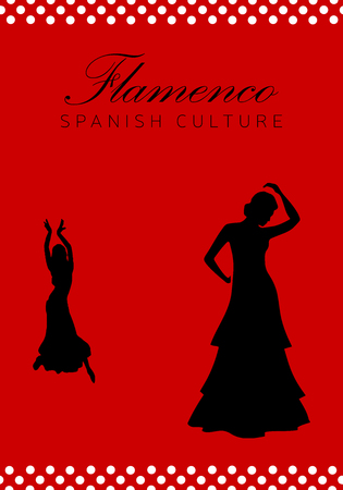 Flamenco dance in silhouette, Spanish culture.