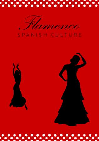 Flamenco dance in silhouette, Spanish culture.