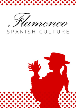 Spanish culture, flamenco dance illustration.