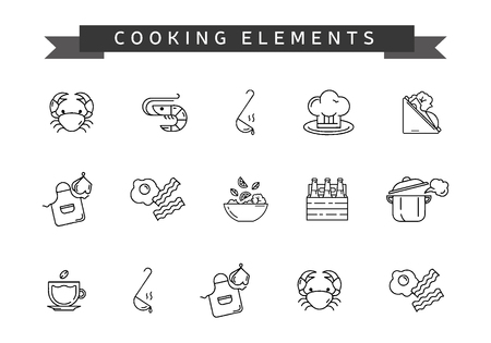 Set of cooking element. Line icons to cook. Vector illustration.