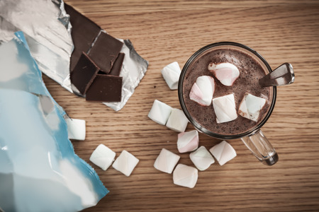 chocolate treats: Hot chocolate drink topped with marshmallows.