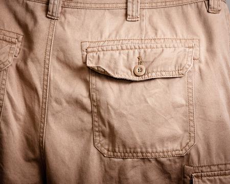 khakis: Close-up of a back pocket on a pair of khakis. Stock Photo