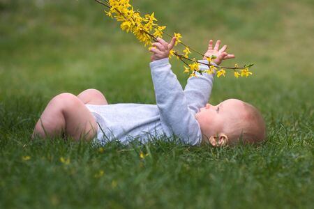 little baby boy is lying on green gras and playing with yellow flower Stock Photo