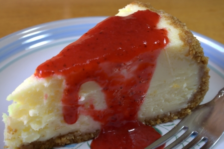 Close Up of Strawberry Cheesecake photo
