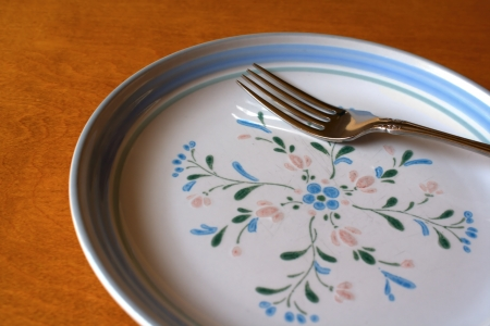 Empty plate and fork photo