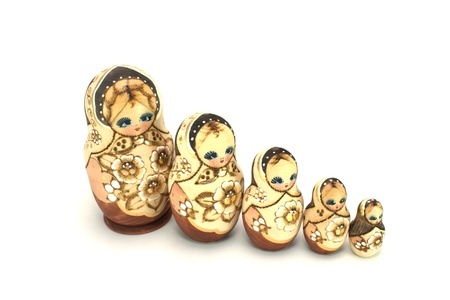 Russian nesting dolls isolated on white photo
