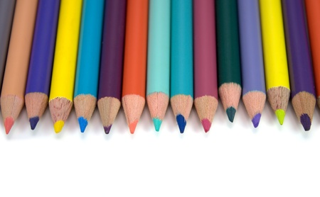 Brightly colored pencils isolated on white Stock Photo - 15417888