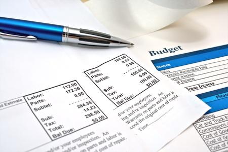 budget repair: Automotive repair receipts and budget