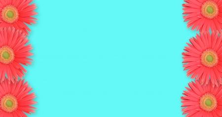Daisy border on blue background Фото со стока