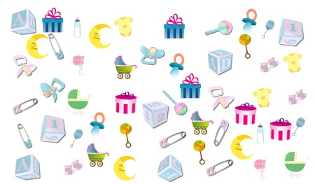 baby toy: Illustration with baby items on white Stock Photo
