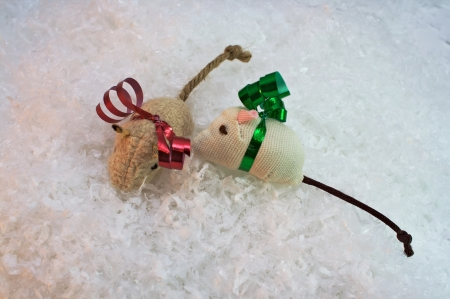 Two cat nip toys isolated on snow background