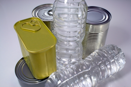 canned goods: Canned goods and bottled water for storing