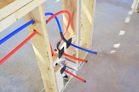 Modern hot and cold water lines in new construction