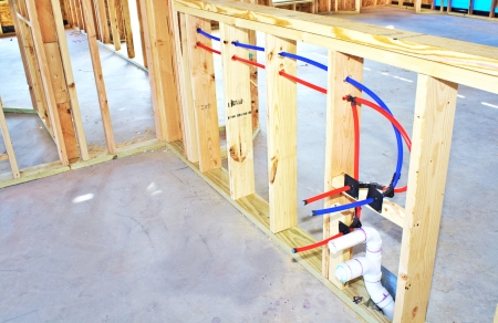 Framework in new construction kitchen area Stock Photo