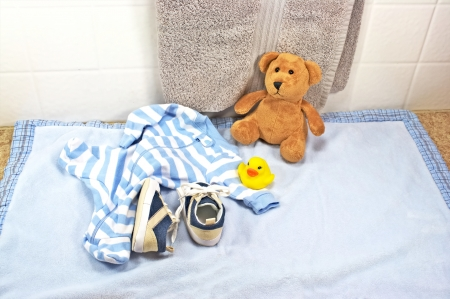 Bath time for baby with rubber duck