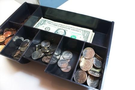 Cash drawer isolated on white Zdjęcie Seryjne