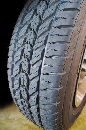 Closeup image of a new tire