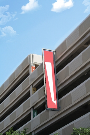 Parking garage with blank sign Editorial