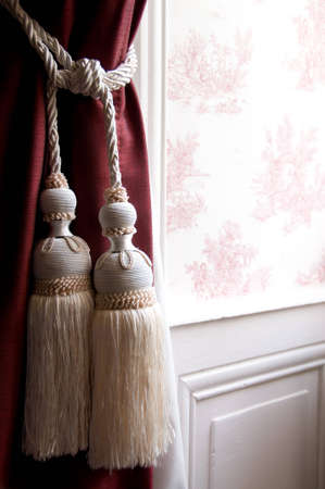 tassels: French Toile De Jouy Wallpaper with Tassel Tie-Back Curtains