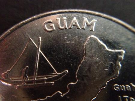 guam: Close-up of a United States quarter with Guam Stock Photo
