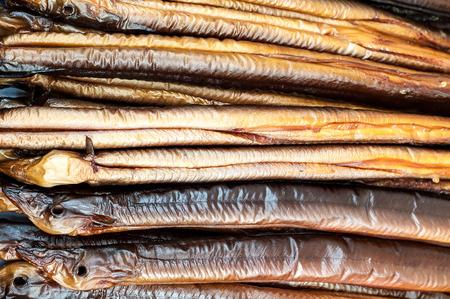 fresh smoked eel ready to eat Foto de archivo