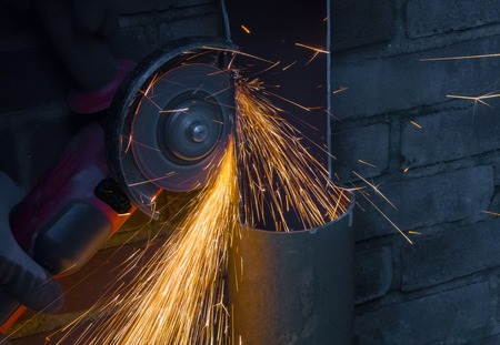 Sparks flying from an angle grinder